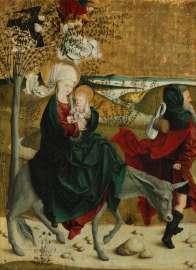 Meister von Mondsee, Flucht nach Ägypten, von der Predella des sog. Mondseer Altars, vor 1499