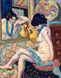 Helene Funke, Akt in den Spiegel blickend, 1908-1910