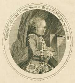 Der siebenjährige W.A. Mozart auf seiner Europa-Reise, Radierung von T. Cook, London 1769