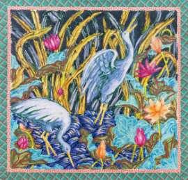 Robert Kushner Pink Leaves, 1979 Acryl, verschiedene Textilien / Acrylic, various textiles 205 x 330,5 cm